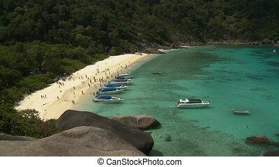 gens, plage, bateaux
