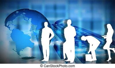 gens, planète, poser, business, devant