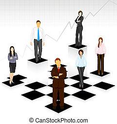 gens, planche, business, échecs