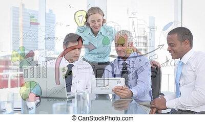 gens, plans, regarder, business