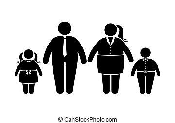 gens, plat, style, icône, obèse, figure, enfants, noir, ...