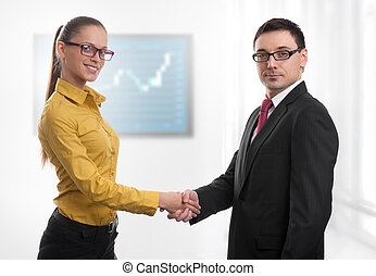 gens, poignée main,  Business