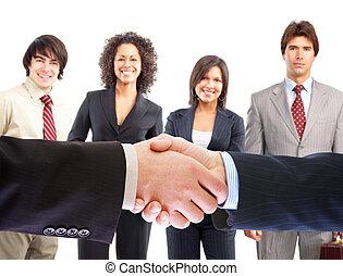 gens, poignée main,  Business, réunion