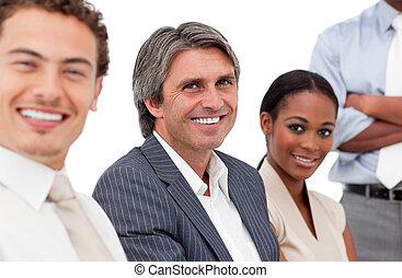 gens, portrait, business, sourire, réunion