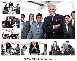 gens, poser, business, bureau fonctionnant, collage