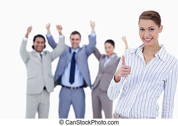gens, pouces, enthousiaste, fond, leur, business, femme ...