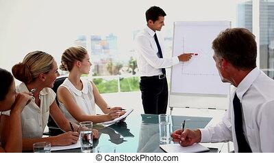 gens, présentation, business, écoute