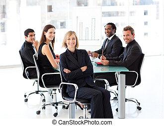 gens, présentation, business, sourire, séance