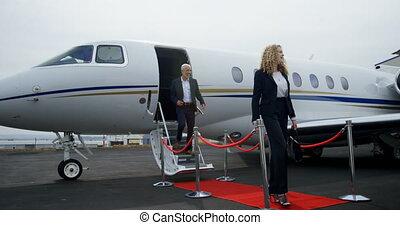 gens, privé, jet commercial, partir, 4k