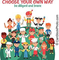 gens, professions, dessin animé, illustration