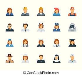 gens, professions, et, métiers, icône, ensemble, dans, plat, conception, #2