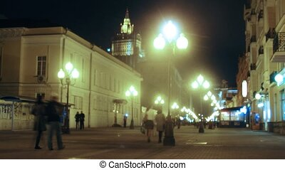 gens, promenade, rue, gratte-ciel, nuit, devant