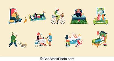 gens, propre, illustration, fauteuil, femme, homme, confortable, séance, chouchou, maison, ou, chat, caractères, marche, vecteur, plat, dormir, chaton, chats, dessin animé, propriétaire