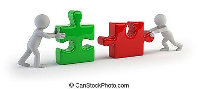 gens, puzzle, -, deux, relier, petit, 3d