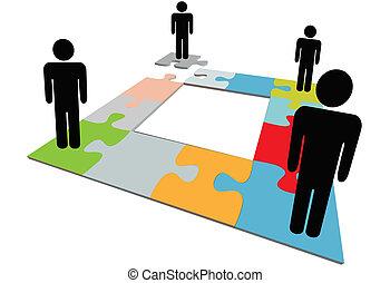 gens, puzzle, disparu, solution, équipe, problème, trouver