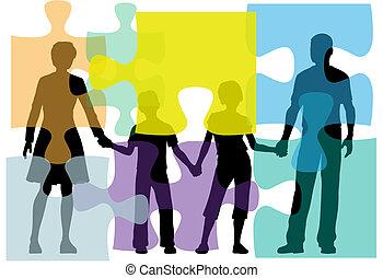 gens, puzzle, problème, conseiller, famille, solution