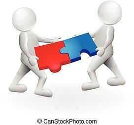 gens, puzzle, solution, blanc, homme, 3d