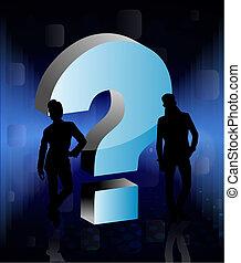 gens, question, 3d, signe