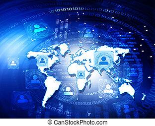 gens, résumé, fond, connexion globale, technologie
