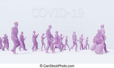 gens, résumé, foule, infection, virus, covid-19