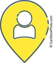gens, réunions, signe, symboles, marqueur, logo, isolé, noir, indicateur, blanc, rendez-vous, emplacement, plat, illustration, color., objets, fond, icône, illustration., épingle, carte, personne, vecteur, concepts, ou