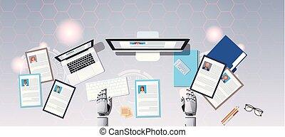 gens, recrutement, choisir, cv, angle, candidat, sommet, bureau, vitae, profil, business, reprendre, hr, programme scolaire, métier, mains, horizontal, location, bot, robot, lieu travail, position, vue