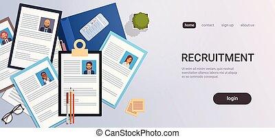 gens, recrutement, cv, angle, candidat, espace, sommet, bureau, vitae, profil, smartphone, business, reprendre, programme scolaire, métier, horizontal, copie, liste, contact, lieu travail, position, vue