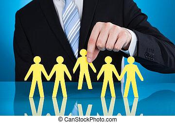 gens, recrutement, papier, tenue, homme affaires, représenter