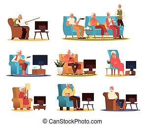 gens, regarder, couple, tv, fauteuil, séance, personnes agées, sofa, ou