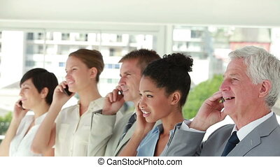 gens, rire, téléphone, business