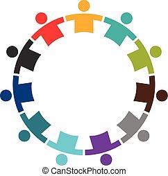 gens, round., logo, équipe, conception, onze