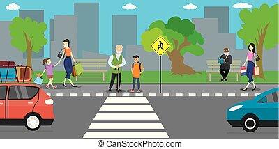 gens, route, vie, rue, stand, aller, ville, urbain, concept