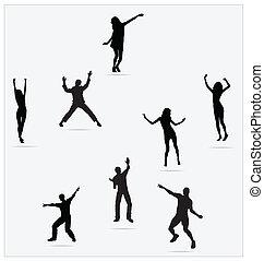 gens, sain, jeune, danse, sauter, actif