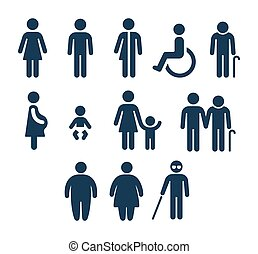 gens, salle bains, icônes médicales