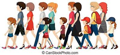 gens, sans, faces, marche