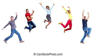 gens., sauter, groupe, heureux