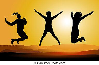 gens., sauter, silhouette, heureux