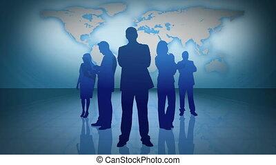 gens, sc, silhouettes affaires