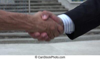 gens, secousse, deux mains