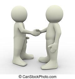 gens serrant main