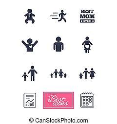 gens, signe., maternité, famille, icons.