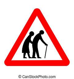 gens, signe, personnes agées, route