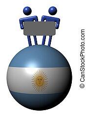 gens, signe, sphère, drapeau, tenue, argentine