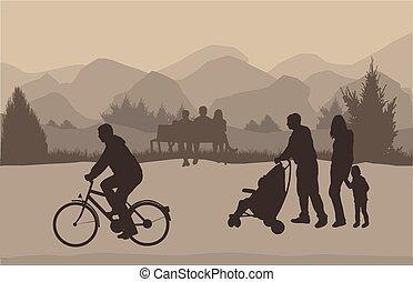 gens, silhouette, dans, nature, .