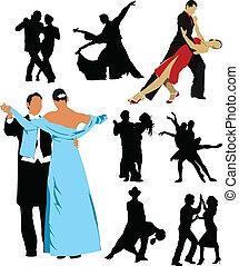 gens, silhouette, desi, danse