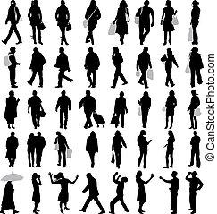 gens, silhouette, vecteur