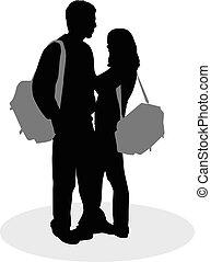 gens, silhouettes., couple, noir, jeune