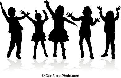 gens, silhouettes, danse, children., conceptual.