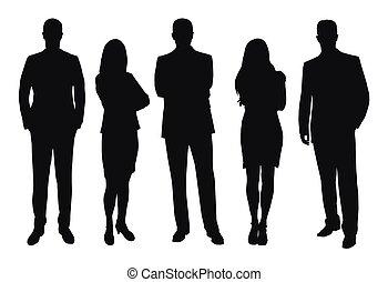 gens, silhouettes, ensemble, vecteur, business