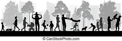 gens, silhouettes., illustration., vecteur, heureux, parc, marche